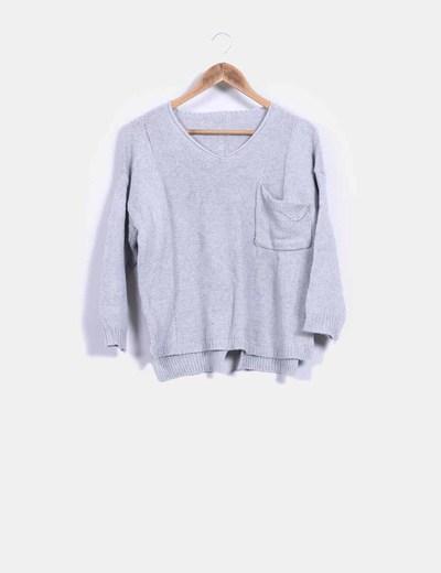 Jersey tricot gris con bolsillo NoName