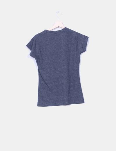 Camiseta gris jaspeada print mickey mouse