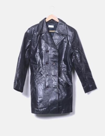 Abrigo negro de cuero Promod
