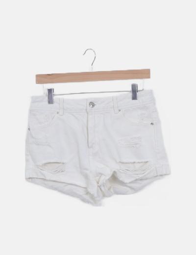 Pantalón short denim blanco