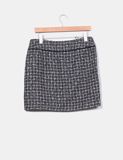 Mini falda tweed tonos grises