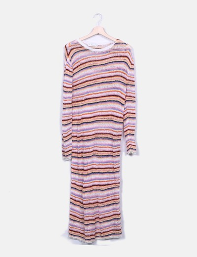 Maxi vestido punto multicolor Zara