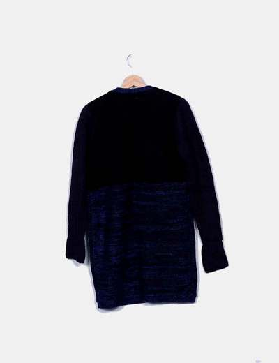 Abrigo punto negro y azul