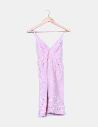 Vestido rosa estampado de tirante fino Sfera