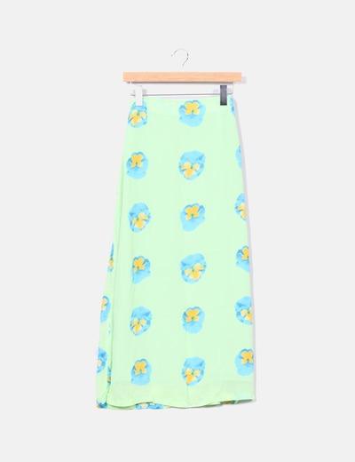 Falda verde floreada Naf Naf