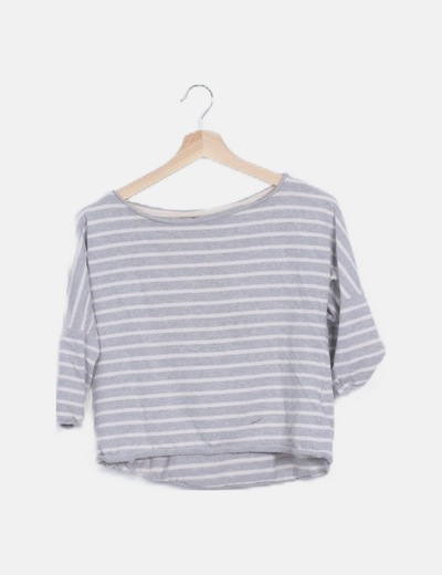 Jersey tricot rayas gris