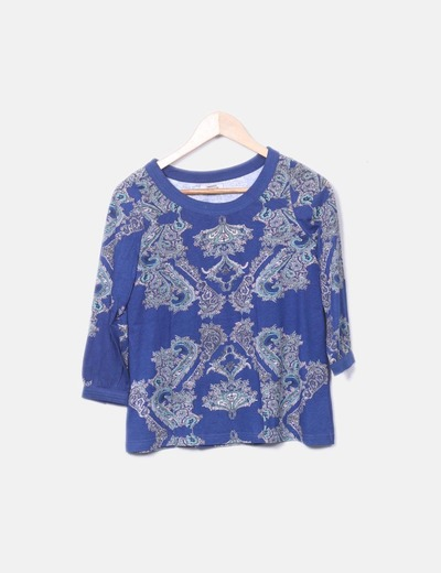 Camiseta manga larga azul estampada