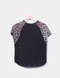Blusa combinada animal print con encaje   Zara