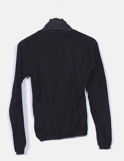 Jersey tricot negro escote raso