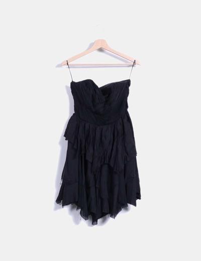 Vestido negro drapeado palabra de honor Zara