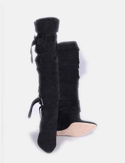Botas de piel corsario negras con cuna tiras ajustables