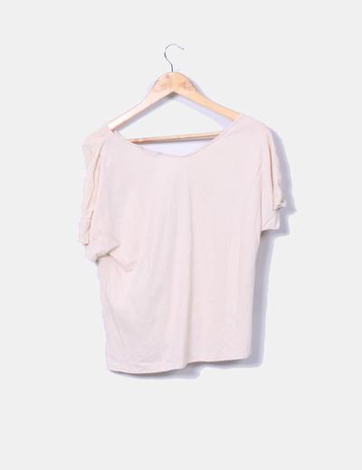 Camiseta beige topos manga corta