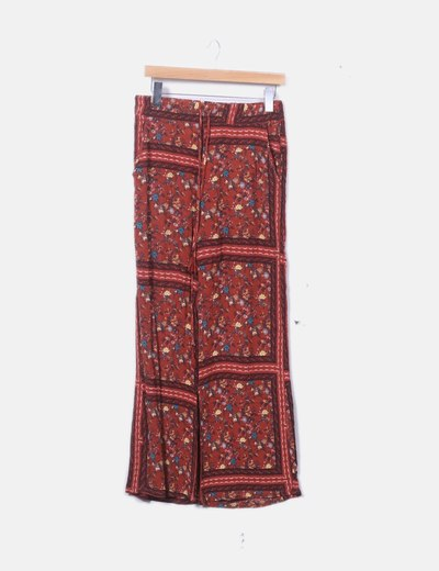 Pantalón fluido marrón floral