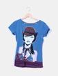 Camiseta azul petróleo print mujer NoName