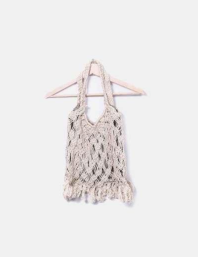 Bolso shopper crochet beige