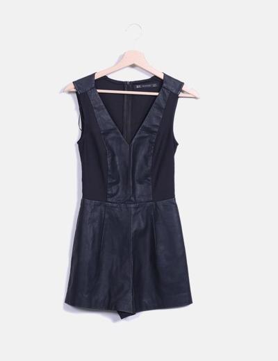 Mono negro combinado con polipiel Zara