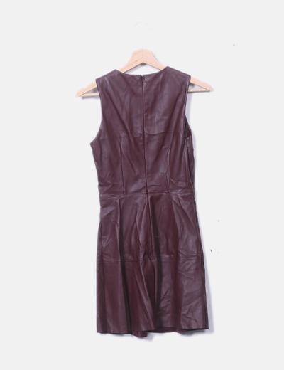 bonito diseño Calidad superior lindo baratas Vestido polipiel color berenjena