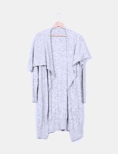 Maxi cárdigan gris jaspeado Zara