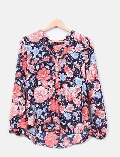 Blusa escote pico print  floral  Zara