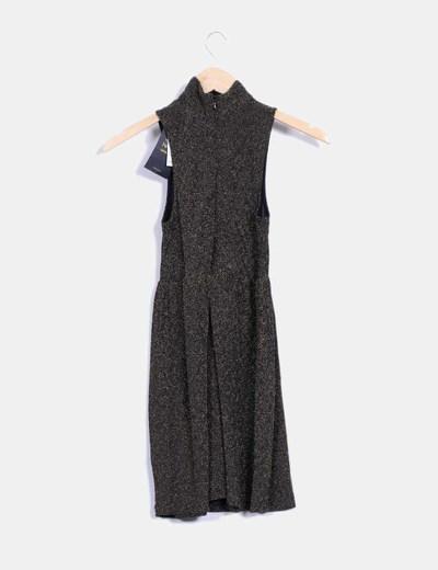 Vestido texturizado bicolor