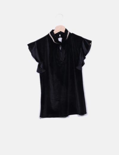 Camiseta negra terciopelo con strass NoName