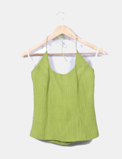 Conjunto falda maxi y top halter verde