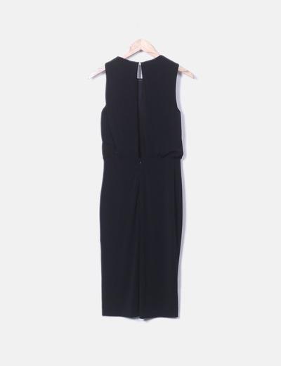 Vestido negro cruzado mango