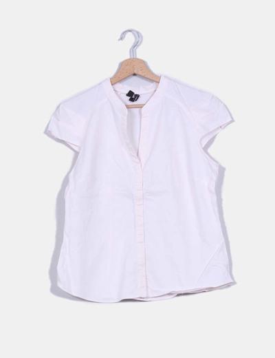 Camiseta rosa palo cuello mao Mango