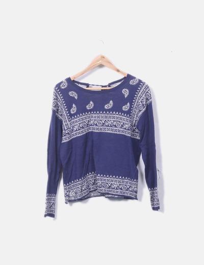 Jersey tricot azul marino combinado