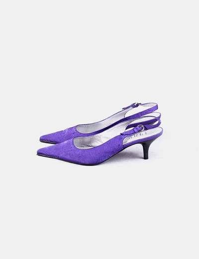 Sapato de salto alto roxo aberto PROF