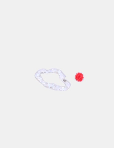 Conjunto de pulsera blanca y anillo flor rojo NoName