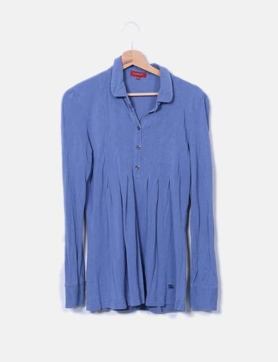 Polo azul plisado Burberry