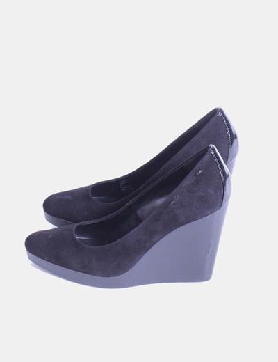 De Terciopelo Cuña Negro Zapatos Zapatos 8w0nkPO