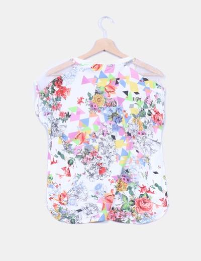 Camiseta combinada estampado multicolor
