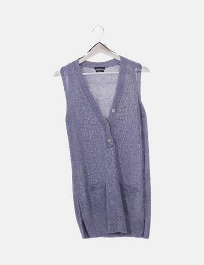 Jersey tricot jaspeado sin mangas oversize