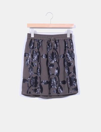 Mini-jupe grise avec paillettes VILA