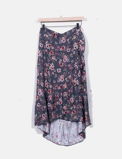 Falda asimétrica con print floral