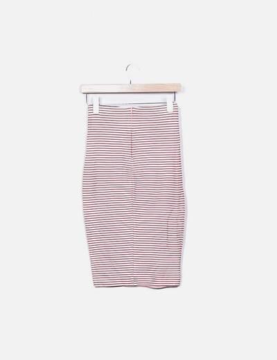 Falda tubo rosa con lazo