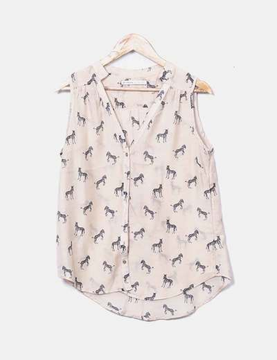 Camisa sin mangas camel print cebras
