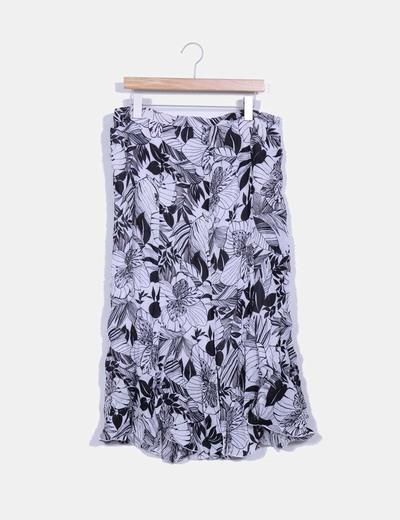 Maxi falda bicolor estampada NoName