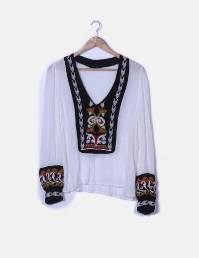 Blusa blanca combinado multicolor