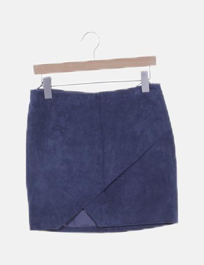 Mini falda azul cruzada de piel