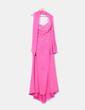 Vestido maxi rosa pedrería escote asimétrico Alba Moda