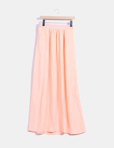 Falda larga naranja Bershka