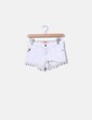 Short denim blanco detalle crochet Bershka