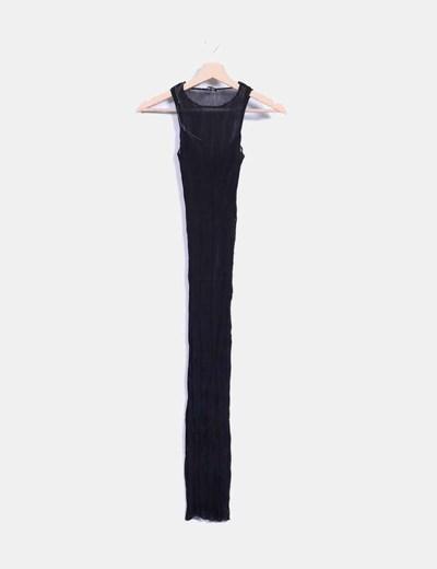 Vestido midi negro plisado ajustado Mango