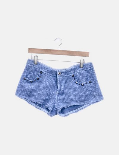 Short azul tweed con tachas