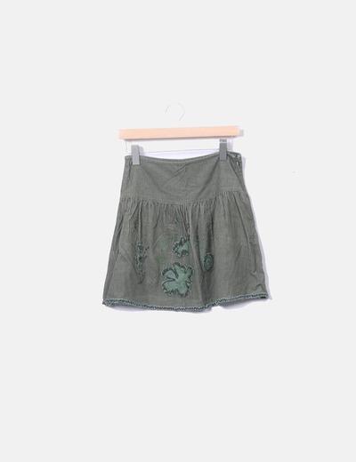 Falda evase pana verde Zara