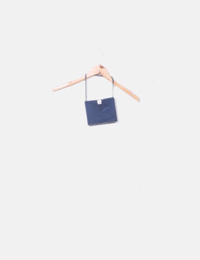 Clutch drapeado azul petróleo