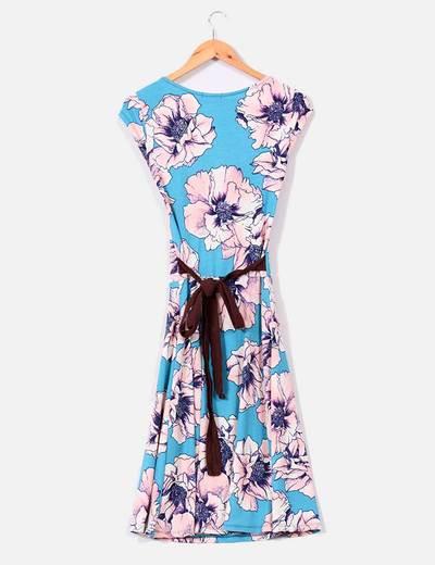 Vestido estampado floral azul y rosa